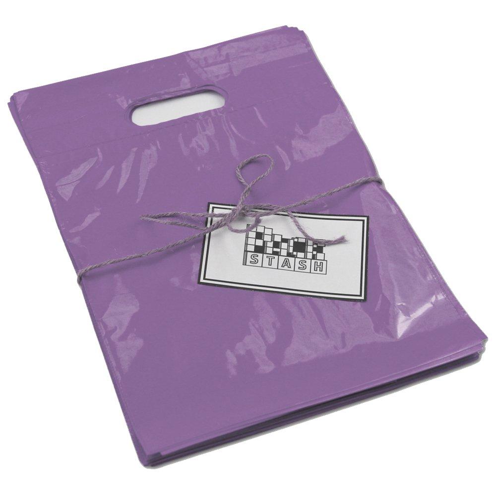 PACKSTASH(250 수량)20X23X5 라일락 보라색 점보 소매 상품 핸들 쇼핑 가방