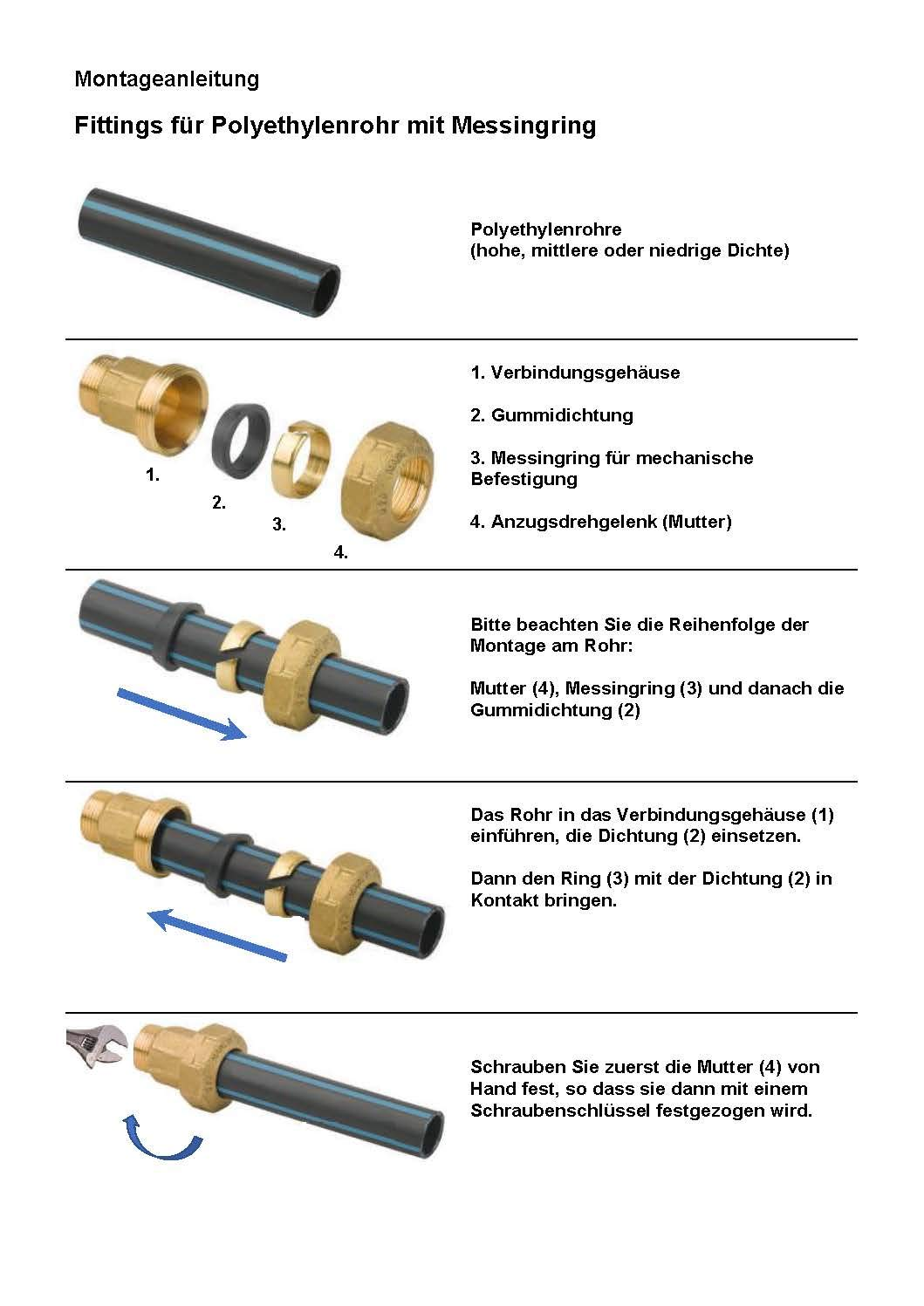PE 20 x 1//2 Steckmuffe Klemmverbinder aus Messing f/ür PE-Rohr idealer Steckverbinder f/ür Industrie Gewerbe und Haushalt.