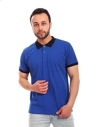 Adnora Plain Contrast Trims Short Sleeves Polo Shirt for Men