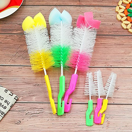 (Bottle Brush Set,Hongxin 2 Pcs/Set Baby Bottle Cleaning Brush 360 Degree Rotating Spin Sponge Brush Bottle Nipple Teapot Nozzle Spout Cup Cleaning Brush Pacifier Brush)