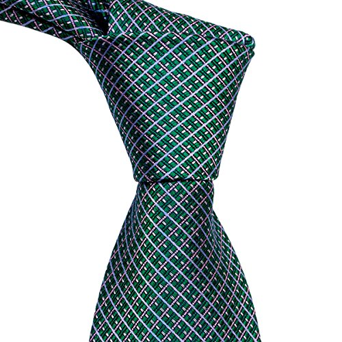 Green Tie with Pink and Blue Plaid Pattern by TieThis | (Pattern Mens Necktie)