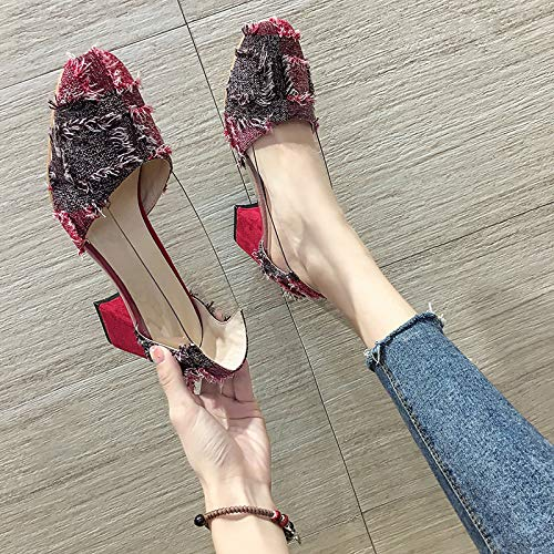 Single High Black Round Shoes Shallow Wind Gentle Wild Female Thick Yukun High Red heels With Mouth Heeled Shoes Autumn Tide PwaEvq