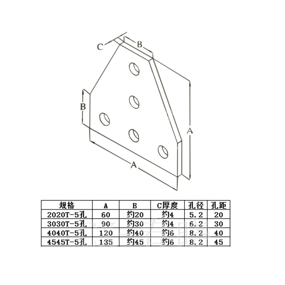 Gimax Aluminium Material Joint Board Plate Corner Angle Bracket Connection Joint Strip for Aluminum Profile 20/30/40/45 with 5 Holes - (Color: 4545T-5hole) by GIMAX (Image #3)