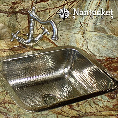 Nantucket Sinks solid brass decorative bar sink with hammered nickel finish by Nantucket Sinks