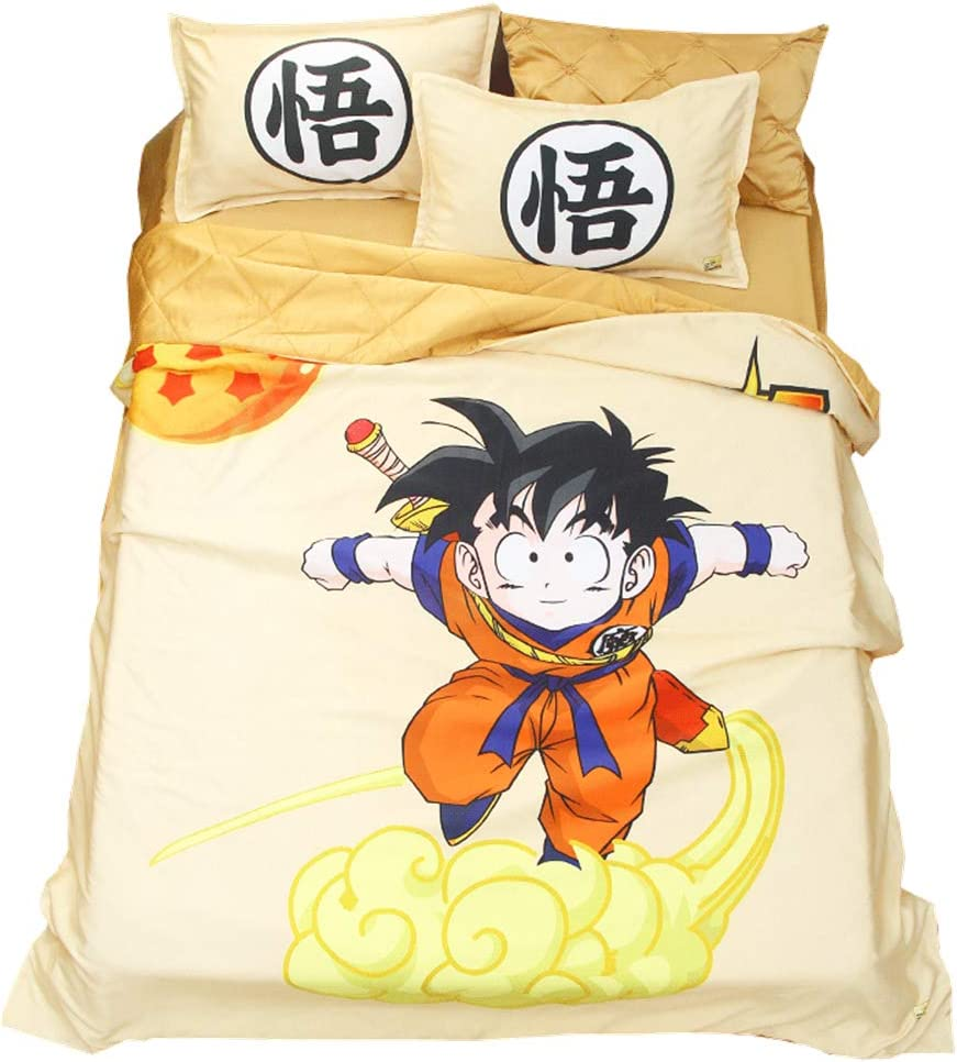 Mxdfafa Anime Dragonball Printed Summer Quilt Set 3D Digital Printing Summer Cool Quilt Washable Night Comfort Cool Summer Duvet,3/4pcs Set Include Summer Quilt and bedsheet and pilllowcase (Queen)