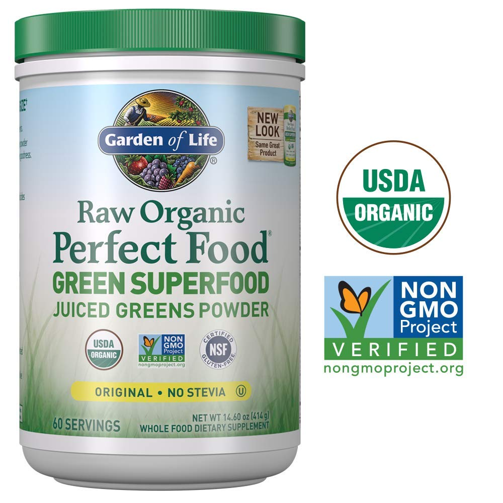 Garden of Life Raw Organic Perfect Food Green Superfood Juiced Greens Powder - Original Stevia-Free, 60 Servings (Packaging May Vary) - Non-GMO, Gluten Free, Vegan Whole Food Dietary Supplement by Garden of Life