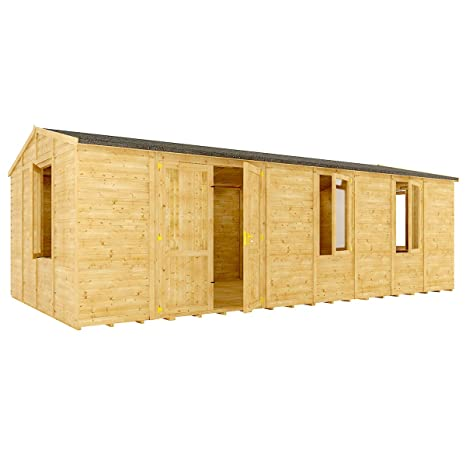 12 M Gran Maestro de ventana de madera caseta de jardín tradicional Apex Offset doble puerta