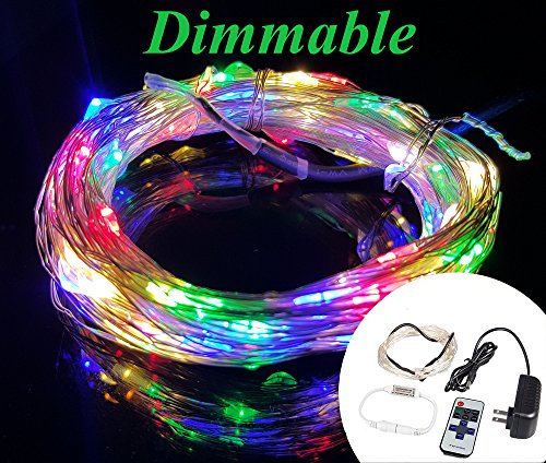 Christmas Lights Volt 12 (Zzmart Dimmable 12V 50ft 150 Leds String Lights with Wireless Remote Control-- Waterproof Flexible Copper Wire, Holiday Decorative LED Lights for Outdoor and Indoor (1, Muticolor))