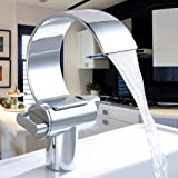 Inchant Unique Modern Flat Mouth Waterfall Bathroom Mixer Tap Vessel Sink widespread Faucets Semi-moon Chrome Finish Bath tub Basin Vanity faucets Single handle Brass Lavatory faucets