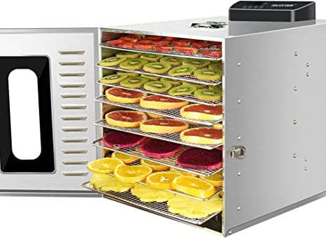 Opinión sobre L.TSA Deshidratador de Alimentos 360W Máquina de deshidratación de Frutas de 8 Niveles Máquina de deshidratador de Alimentos eléctrica de Acero Inoxidable de Grado Comercial Secadora de frut