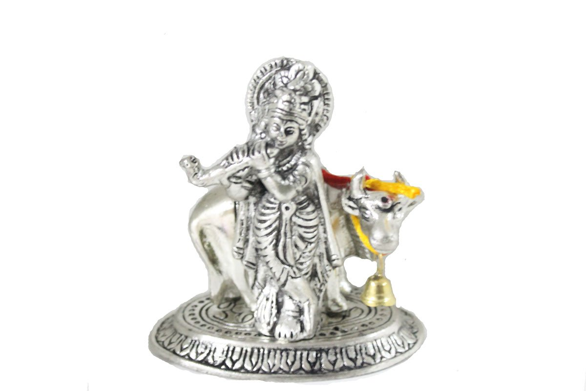 Buy Sarvsiddhi White Metal Lord Krishna Idol Of God With Cow