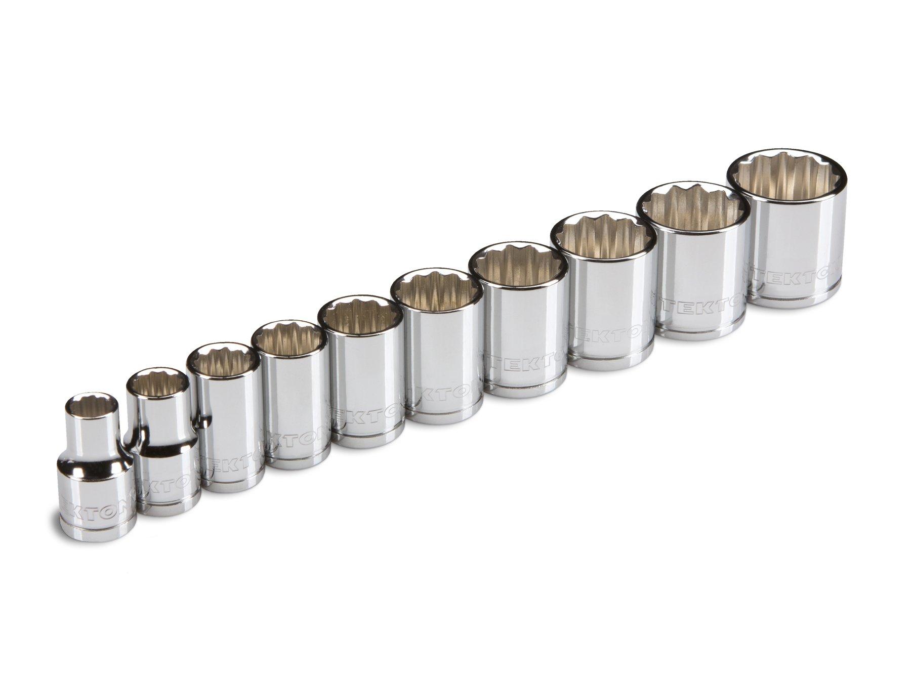 TEKTON 3/8-Inch Drive Socket Set, Inch, Cr-V, 5/16-Inch - 7/8-Inch, 10-Sockets | 1203