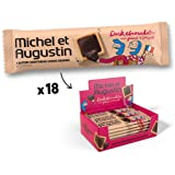 Michel et Augustin Chocolate French Cookie Squares 18 Bars | Dark Chocolate Sea Salt Butter Shortbread | Gourmet Snack Dessert Gift Baskets For Holiday Christmas Valentines | 4 Cookie Squares Per Bar