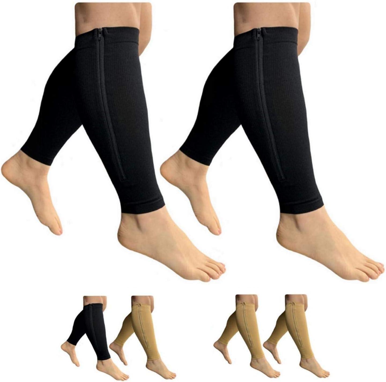 Beige Combo, 3X-Large HealthyNees Footless 15-20 mmHg Zipper Compression Leg Calf Shin Sleeve 2 Pairs