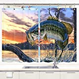Fish Curtains for Windows DYNH Fishing Kitchen Curtain, Bass Fish with Hook Out of Ocean at SunriseWindow Curtain Panels, Waterproof Kitchen Curtains Drapes 10PCS Hooks 55X39 in Valance