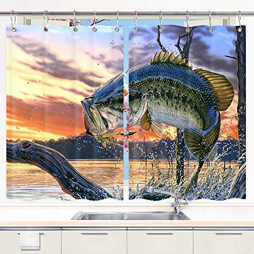 Fishing Valance - DYNH Fishing Kitchen Curtain, Bass Fish with Hook Out of Ocean at SunriseWindow Curtain Panels, Waterproof Kitchen Curtains Drapes 10PCS Hooks 55X39 in Valance