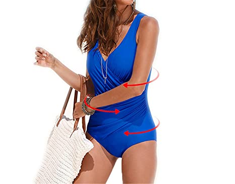2627577256e88 Image Unavailable. Image not available for. Color  One-Piece-Swimsuits  Women Plus Size Swimwear Retro Vintage Beachwear ...