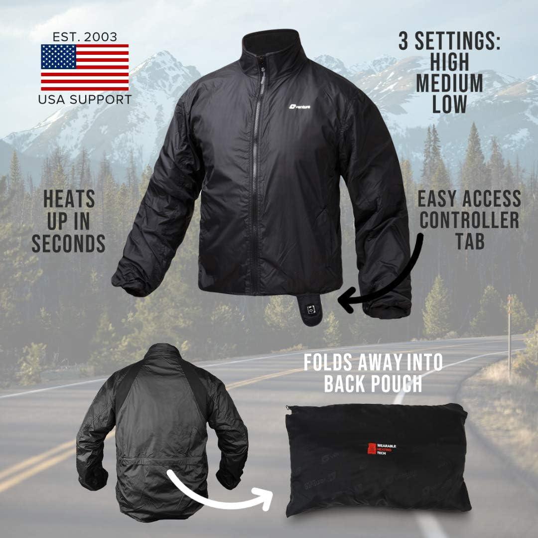 Venture Heat 12V Motorcycle Heated Jacket Liner with Wireless Remote Deluxe Protective Gear 7 Heating Zones 75 Watt
