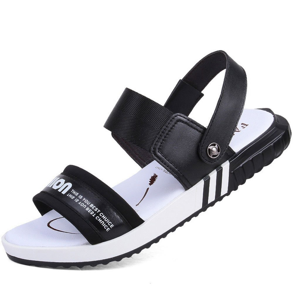 Sandalias De Verano Suela De Goma De Cuero Antideslizante Zapatillas De Playa Transpirables Resistentes Al Desgaste 42 EU|Black