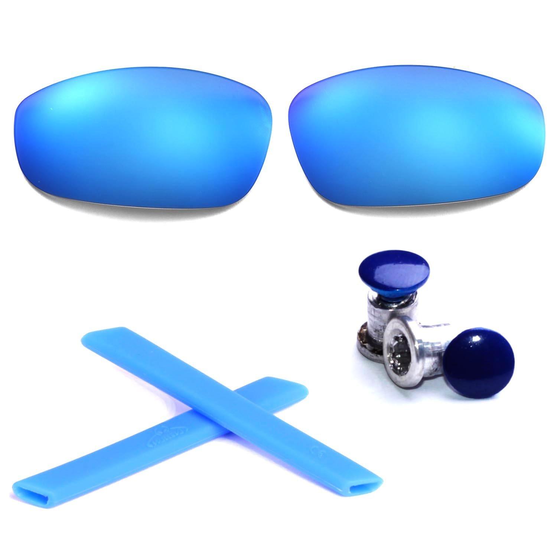 Walleva New Replacement Lenses + Earsocks +Bolt for Oakley Split Jacket - Mulitple Options (Ice Blue Lenses + Blue Rubber + Navy Blue Bolt)