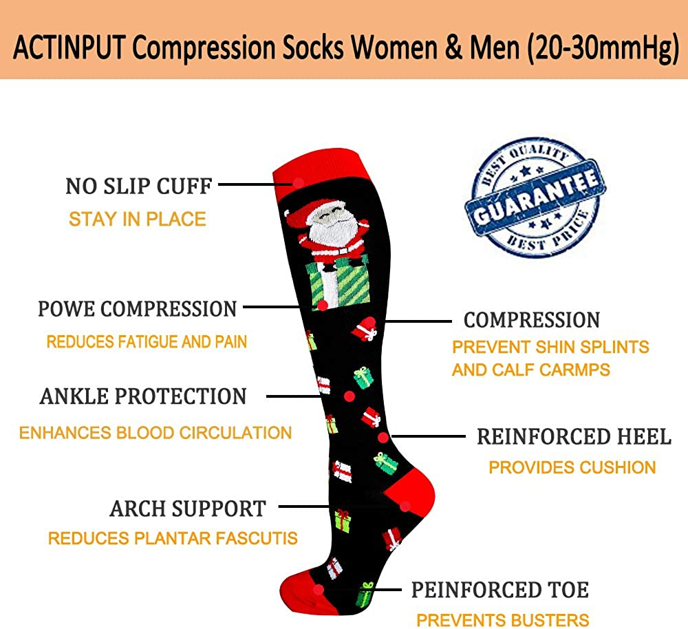 Compression Socks for Women/&Men Travel,Cycling,Pregnant,Nurse - Best for Running 20-30mmHg Edema
