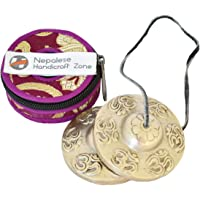 """NHZ Tingsha Tibetan Meditation Bell 2.5"""" Embossed with free case (Silver)"""