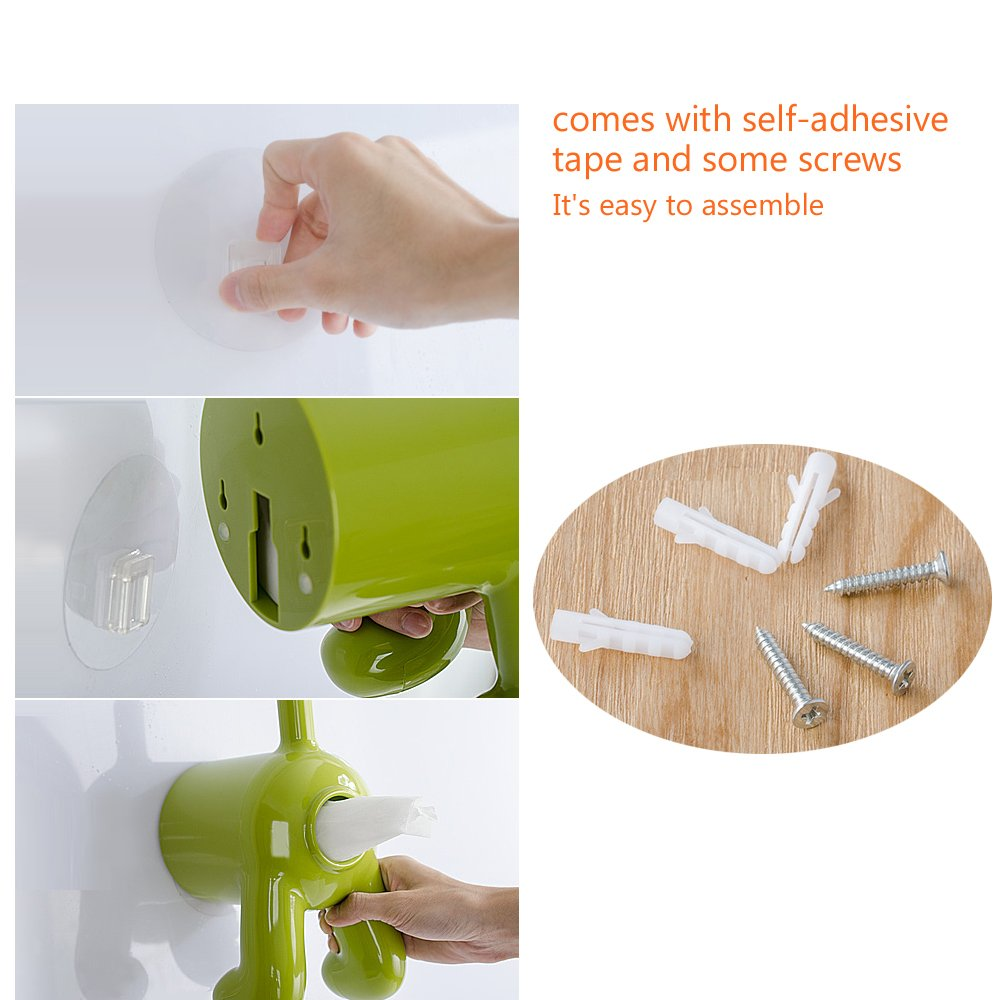 Green Dog Boby Rear End Toilet Paper Roll Cover /& Tissue Dispenser Holder With Self Adhesive Easy Installation