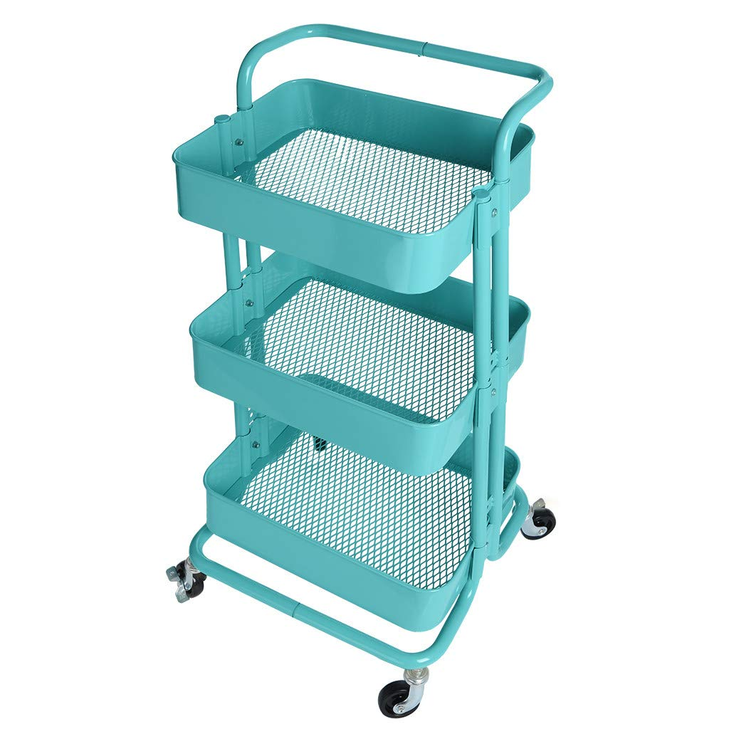 NszzJixo9 3-Tier Metal Mesh Utility Rolling Cart with Removable Handle and Plug, Indoor or Outdoor Storage Organizer, Blue