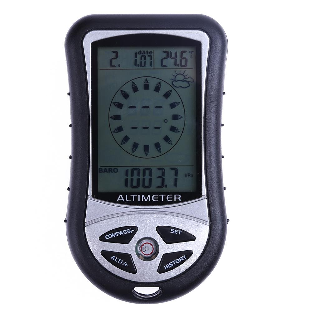 Everpert - Altímetro electrónico de mano 8 en 1 con brújula y termómetro, tiempo de previsión meteorológica