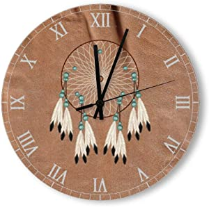 PotteLove 15 Inch Silent Vintage Wooden Round Wall Clock Non Ticking Quartz Battery Operated, Native American Dreamcatcher Rustic Chic Style Wooden Round Home Decor Wall Clock