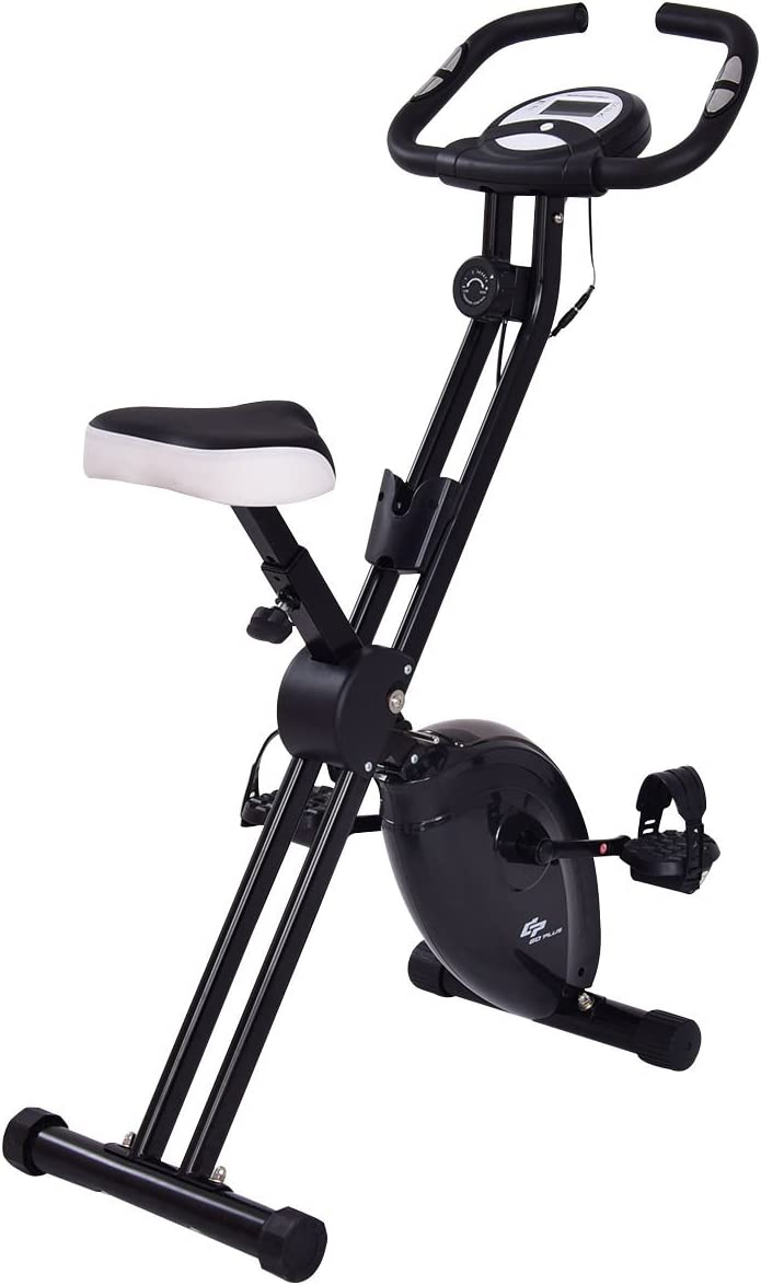 Goplus Upright Exercise Bike Stationary Bicycle 8 Resistance Levels and 7 Speed Levels Adjustable