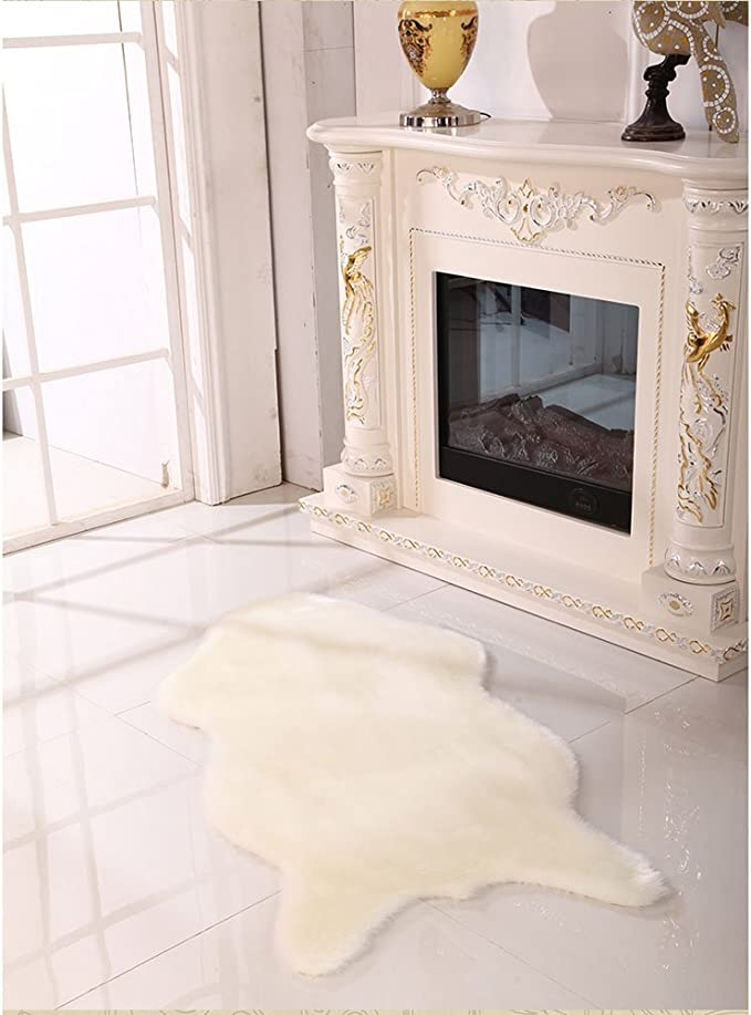 G/én/érique 4 Couleurs Blanc Noir Fausse Fourrure Peau de Mouton Tapis de Style Couverture de Chambre Gray, 75 * 106cm