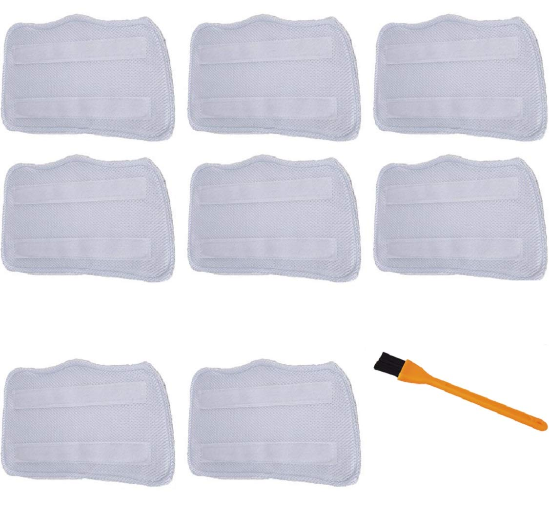 Hongfa 8 Packs Microfiber Mop Pads Replacement for Shark Steam Mop Pads S3101, S3102, S3250, S3251, SK115, SK140, SK141, SK435CO, SK460 SS460WM with a Free Cleaning Brush
