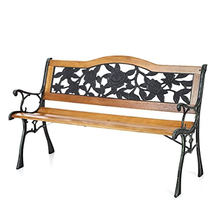 IKAYAA Cast Iron Wood Outdoor Patio Park Garden Bench Furniture Deck Porch  Backyard Lawn Chair,
