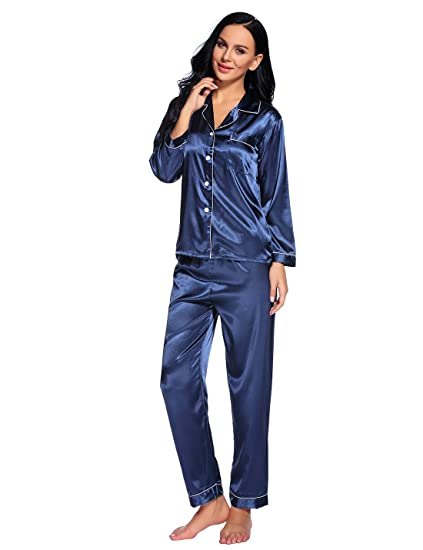323c4ad671 Binken Women s Classic Satin Long Sleeve Pajama Set at Amazon ...
