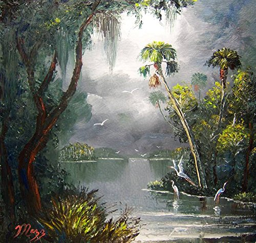 - Imagekind Wall Art Print Entitled Old Florida River by Mazz Original Paintings | 38 x 36