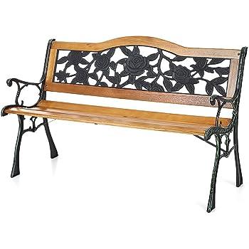 Amazon Com Ikayaa Cast Iron Wood Outdoor Patio Park
