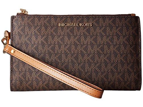 MICHAEL Michael Kors Adele Double-Zip Wristlet 7+ Brown One Size
