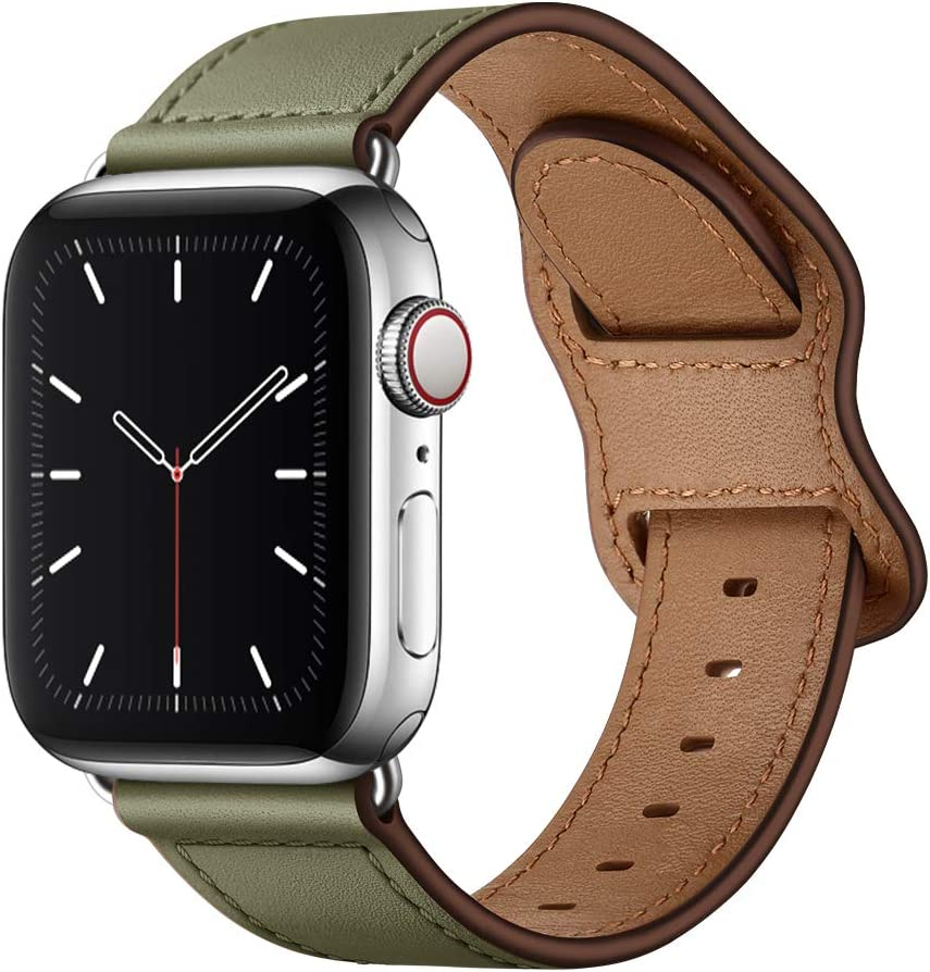KYISGOS Compatible with iWatch Band 44mm 42mm 40mm 38mm, Genuine Leather Replacement Band Strap Compatible with Apple Watch SE Series 6 5 4 3 2 1 (Army Green/Silver, 44mm/42mm)