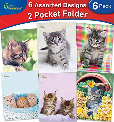 Design Folder - New Generation - Kitten - 2 Pocket Folders / Portfolio 6 PACK Letter Size with 3 Hole Punch to use with your Binder Heavy Duty Glossy Finish UV Laminated Folder - Assorted 6 Fashion Design (6 PACK)