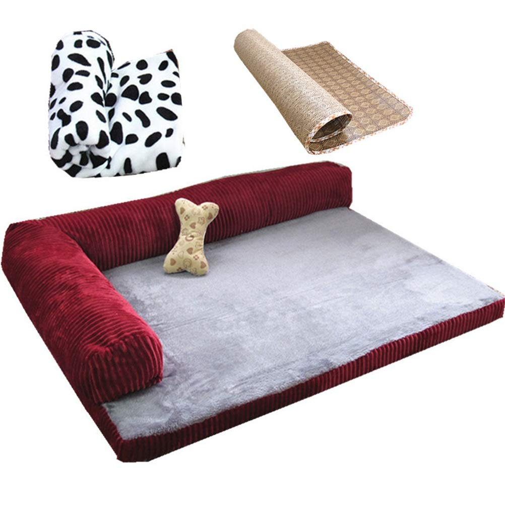 Red (four sets) M Red (four sets) M Soft and Comfortable Dog Sofa Teddy golden Retriever Dog House Flat not Fall into The Fall and Winter Dog Dog Mattress Predection Spine Small Medium Large Dog Pet cat Dog cave Four Seasons