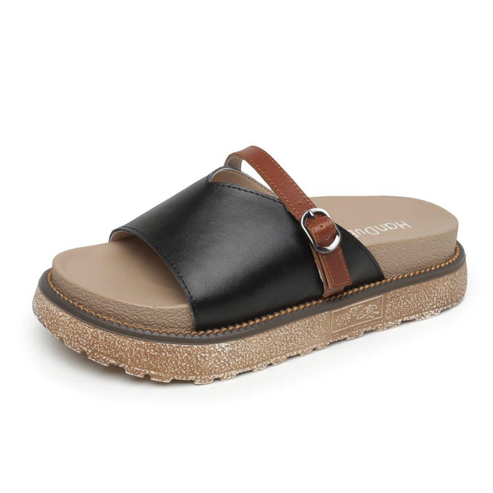 Damen Sandalen 1 & Hausschuhe, Mode 1 Sandalen Wort Hausschuhe Student-Plateau-Sandaletten A e0934a