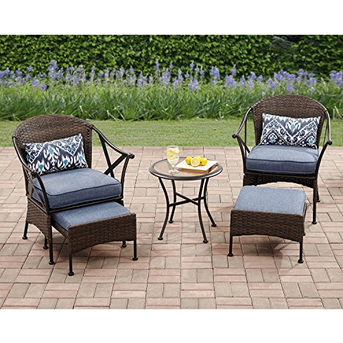 6 Piece Patio Garden Wicker Coffee Conversational Set, 2 Padded Chairs with 2 Matching Ottomans Footstools and Side Table, 2 Lumbar Pillow Included, Outdoor Furniture, Multiple Finishes ()