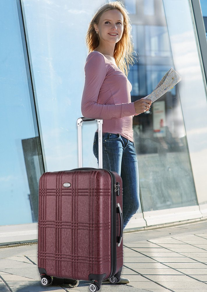 Expandable Carry On Luggage Lightweight Spinner Carry Ons TSA Hardside Luggage Suitcase, 20 inches (BURGUNDY) by Travel Joy (Image #7)
