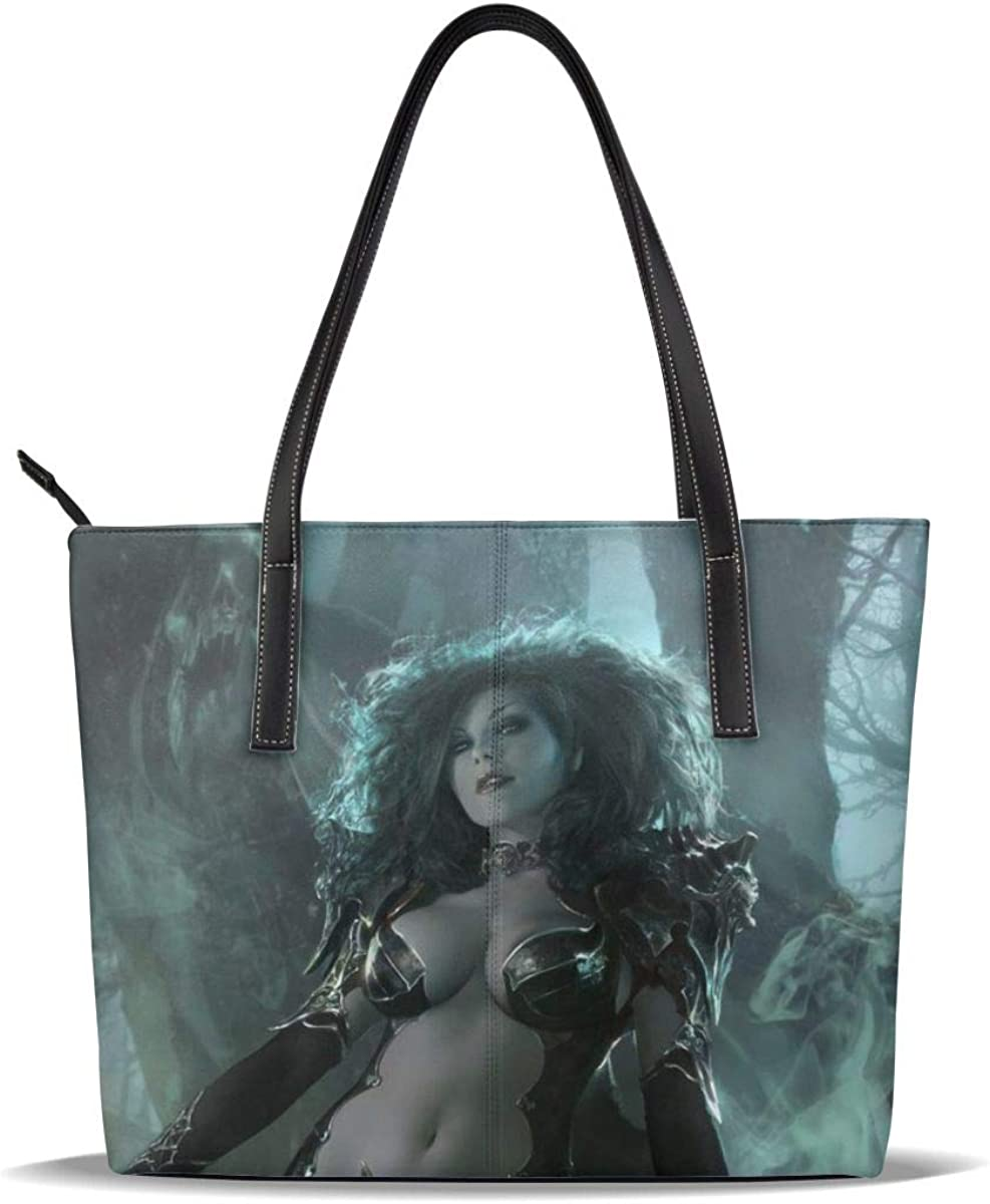 Vampire Queen Women Hallowen Art PU Leather Printed Pattern Casual Handbags Shoulder Tote Bag Purse For Women Girls Vintage Tote Shopping Bags