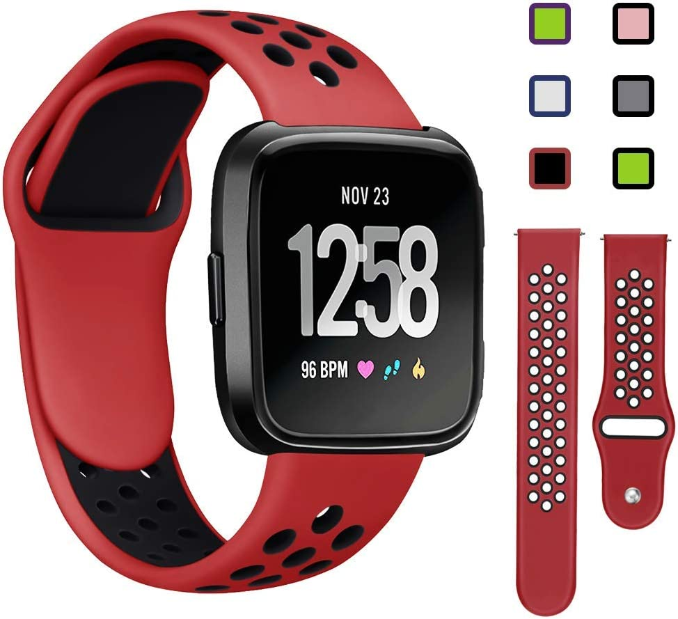 weich und atmungsaktiv Damen Unisex gro/ß KAEHA FBACHA-46 Sport kompatibel mit Fitbit Versa Lite Ersatz-Armband aus Silikon M/änner Rot und Schwarz