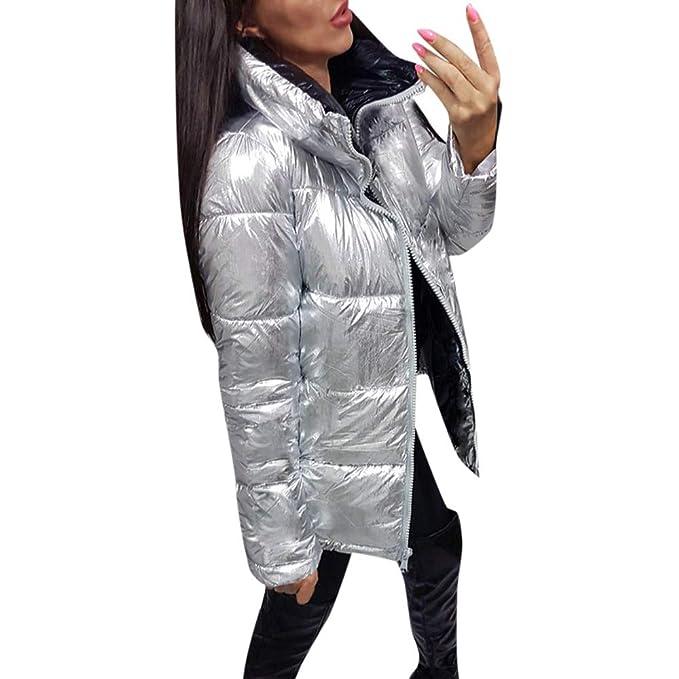 Chaqueta Mujer Lentejuelas Abrigos Acolchados Plumon Acolchada Corta con Capucha Nieve Ultra Warm Elegantes (Plata