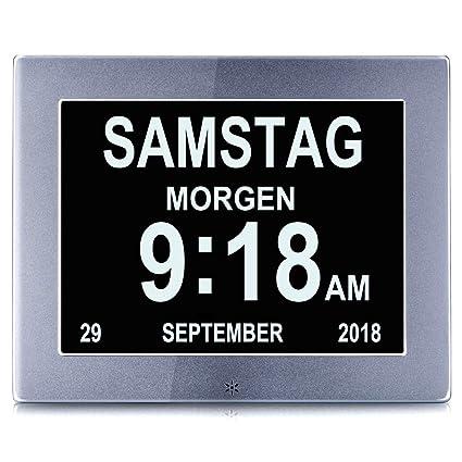 ysx 8 Digital despertador, calendario Día Reloj digital para demencia se Leerse hschwachen,