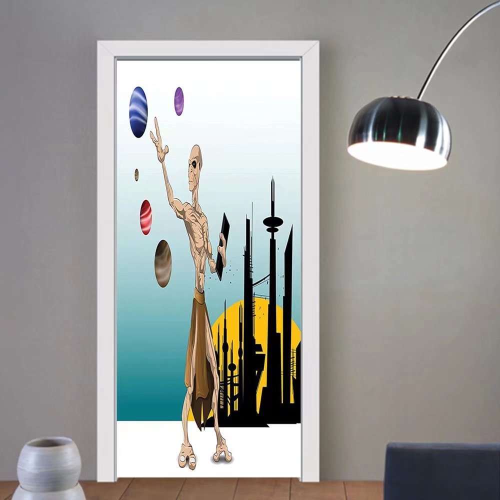 Gzhihine custom made 3d door stickers Outer Space Decor Odd Alien Celestial Body with Small Planets Fantastic Hero Super Powers Image Multi For Room Decor 30x79