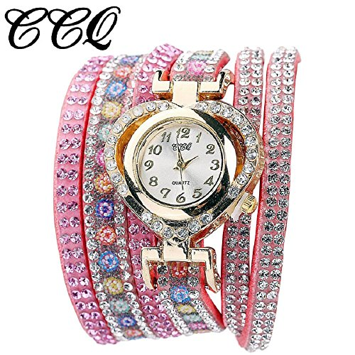 Valentine Day Gift Hosamtel Women Colorful Rhinestone Bracelet Heart Shape Quartz Dial Wrist Watch - Store Uk Armani